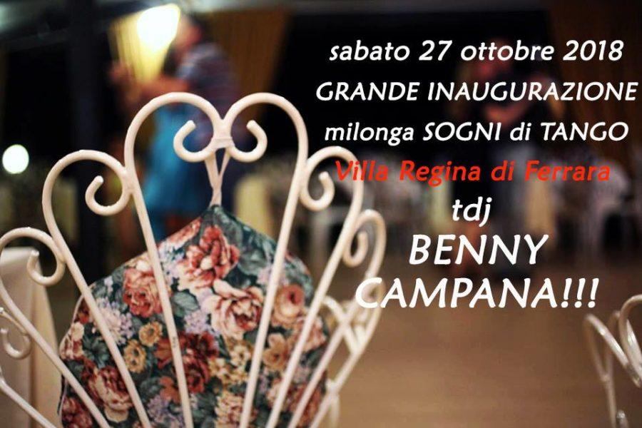 Grande inaugurazione della nuova stagione della milonga Sogni di Tango al Villa Regina